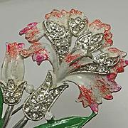 Large Vintage 1940s Enamel Flower Pink Carnation Pin