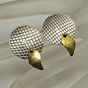 Unique Modernist AH Sterling Silver Mixed Metal Earrings