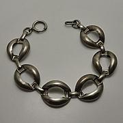 Chunky Vintage Hand Hammered Sterling Silver Link Bracelet