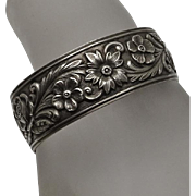 S. Kirk & Son Sterling Silver  Floral Repousse Cuff Bracelet