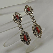 Long Native American Indian Coral Sterling Silver Drop  Earrings