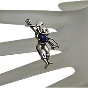 Unique Archer Sterling Silver Lapis Pendant