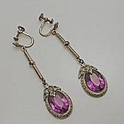 Long Vintage Art Deco Sterling Silver Drop Marcasite Screw Back Purple Earrings