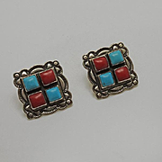 Vintage Native American Indian Coral Turquoise Sterling Silver Earrings JUST REDUCED!