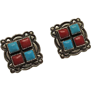 Vintage Native American Indian Coral Turquoise Sterling Silver Earrings