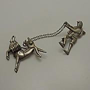 Early Vintage Mexico Donkey Chatelaine Pin Set
