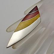 Large Tri Amber Modernist Sterling Silver Studio Art Pin