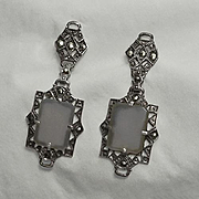 Vintage Art Deco Camphor Glass Marcasite Sterling Silver Earrings