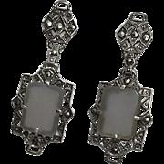 Vintage Art Deco Camphor Glass Marcasite Sterling Silver Earrings