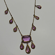 Vintage Purple Glass Drop Necklace