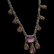 Vintage Purple Glass Drop Necklace