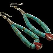 Long Indian Sterling Silver Turquoise Jocla Earrings