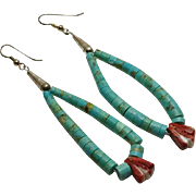 Long Indian Sterling Silver Turquoise Jocla Earrings