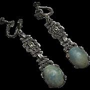 Long Vintage Art Deco Sterling Silver Marcasite Stone Drop Screw Back  Earrings
