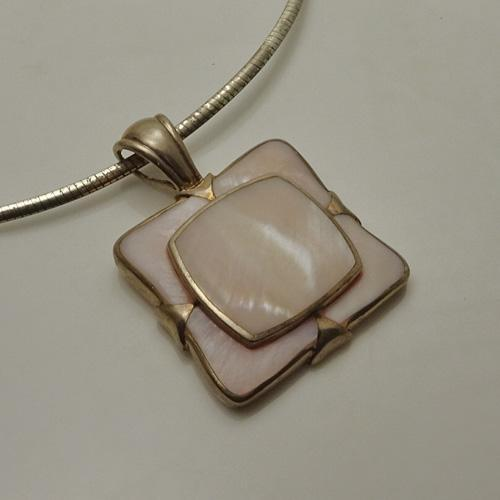 Artisan Pink Stained Glass Pendant Necklace