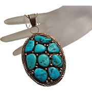 Huge Native American Navajo Indian Sterling Silver Turquoise Cluster Pendant