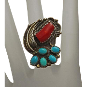 Vintage Native American Indian Navajo Signed Coral Turquoise Sterling Silver Ring 5 Large Face