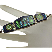 Indian Sterling Silver Mosaic Inlay Bracelet Lapis Coral Turquoise