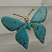 Vintage Indian Turquoise Sterling Silver Butterfly Pin Pendant