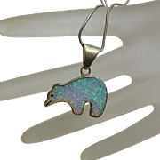 Southwestern Sterling Silver Lab Created Opal Bear Necklace Pendant