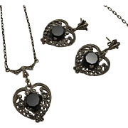 Vintage Sterling Silver Marcasite Heart Onyx Curtis Creations Necklace Earring Set