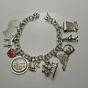 Sterling Silver Charm Bracelet 11 Charms Enamel School Travel
