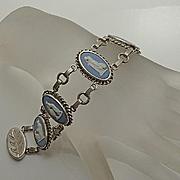 Vintage Wedgwood Rainbow Cameo Blue Jasperware Sterling Silver Bracelet