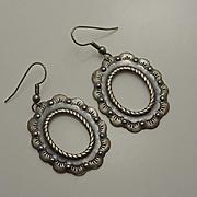 Vintage Southwestern Stamped Sterling Silver Earrings