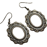 Vintage Southwestern Stamped Sterling Silver Earrings