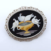 Antique Pietra Dura   Doves of Pliny 800 Silver Filigree Brooch Pin