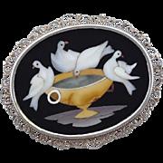 Antique Pietra Dura   Doves of Pliny 800 Silver Filigree Brooch Pin