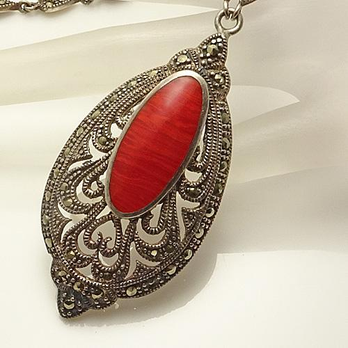 Vintage Sterling Silver Red Stone Marcasite Necklace