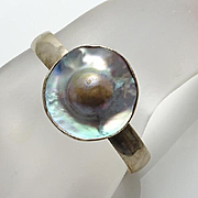Charles Albert Mabe Blister Pearl Sterling Silver Cuff Bracelet