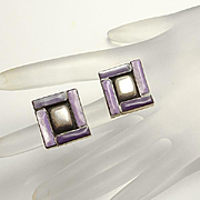 Unique Sterling Silver Modernist Shadow Box Purple Stone Earrings