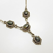 Vintage Etruscan Sterling Silver Cat's Eye Drop Necklace