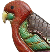 Huge Vintage Sterling Silver Colorful Parrot Bird Indian Inlay Pin Pendant