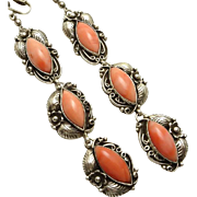 Long Vintage Sterling Silver Coral Indian Earrings Clip On