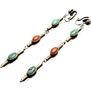 Long Vintage Sterling Silver Coral Turquoise Indian Earrings Clip On