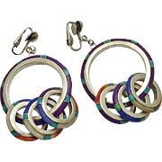 Long Vintage Sterling Silver Stone Inlay Hoop Dangle  Indian Earrings Clip On