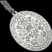 Vintage Franklin Mint Sterling Silver Prince Charles & Lady Diana Royal Wedding  Necklace