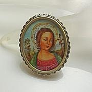Vintage Hand Painted  Miniature Portrait  800 Silver Madonna Pin Pendant