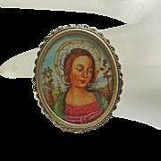 Vintage Hand Painted Portrait  800 Silver Madonna Pin Pendant