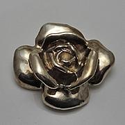 Vintage  Sterling Silver Electroform  Large Rose Pin Pendant