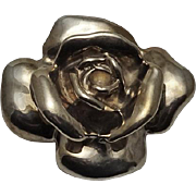 Vintage  Sterling Silver Electroform  Large Rose Pin Pendant