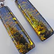 Long Vintage Modernistic Sterling Silver Amber Earrings