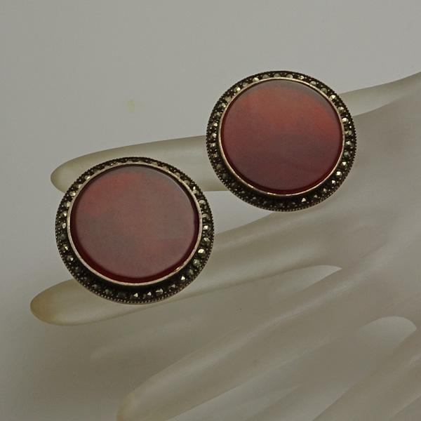 Large Judith Jack Marcasite Button Earrings