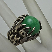 Chunky Vintage Modernist Brutalist Green Stone Sterling Silver Artisan Ring