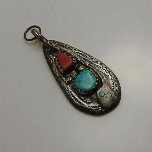 Vintage Native American Indian Signed Effie  C. Calavaza Zuni Snake Sterling Silver Coral Turquoise Pendant