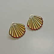 Vintage Native American Indian Mother of Pearl Coral Shell Sterling Silver Earrings
