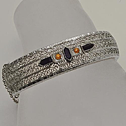 Vintage Art Deco Rhodium Plated Filigree   Bangle Bracelet